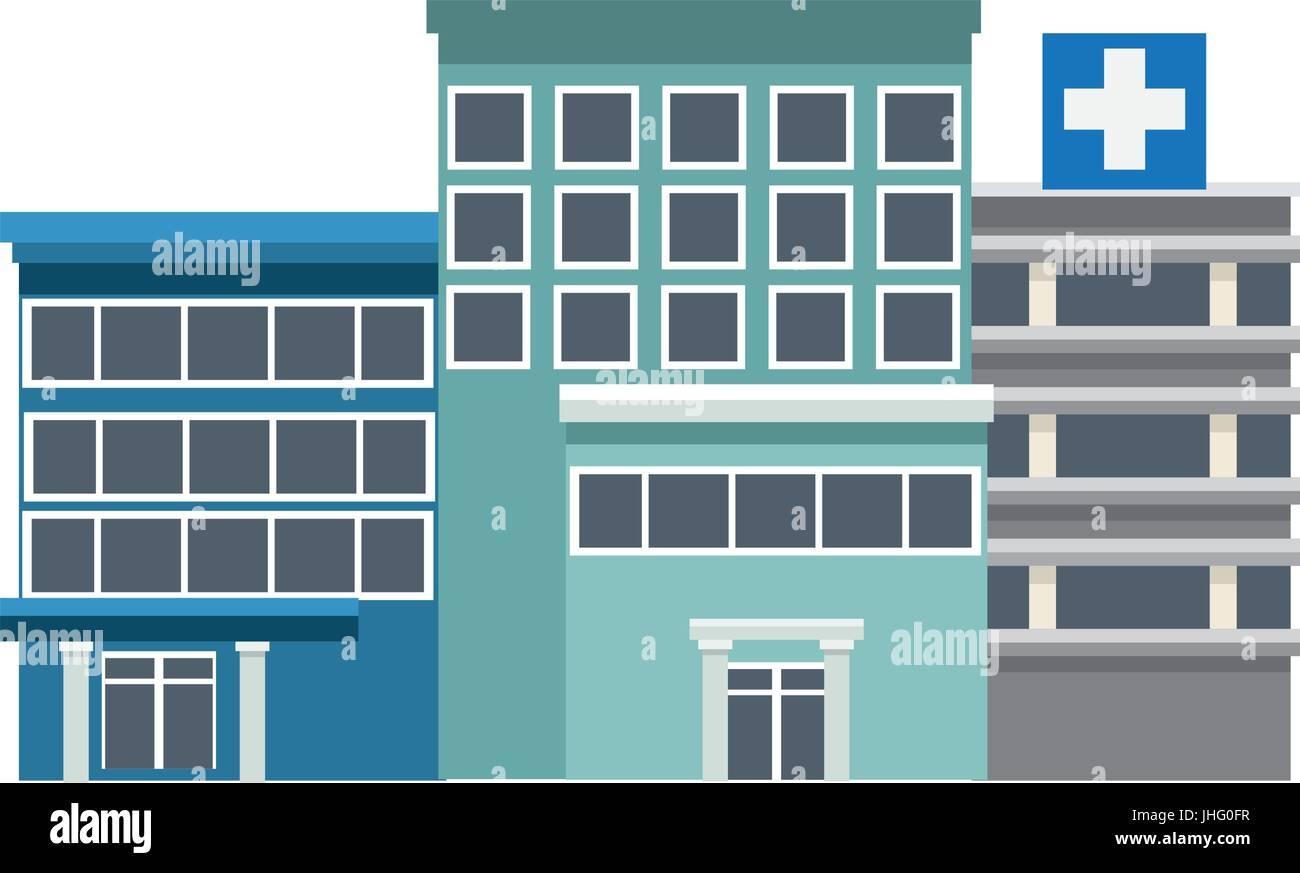 Gebäude des Krankenhauses hoch detaillierte Medizin Stockbild