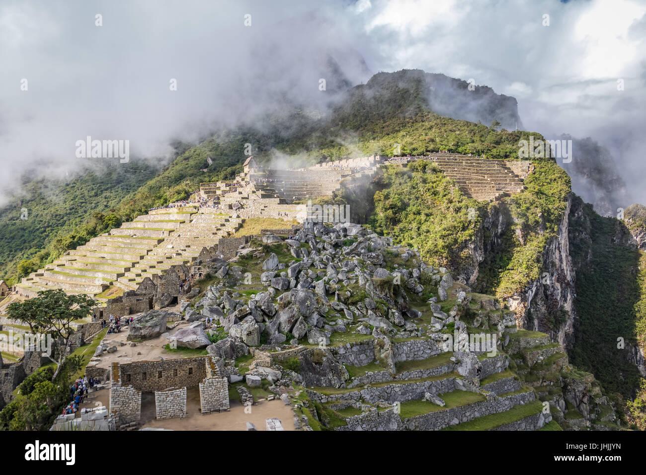 Terrassen am Inkaruinen Machu Picchu - Heiliges Tal, Peru Stockbild