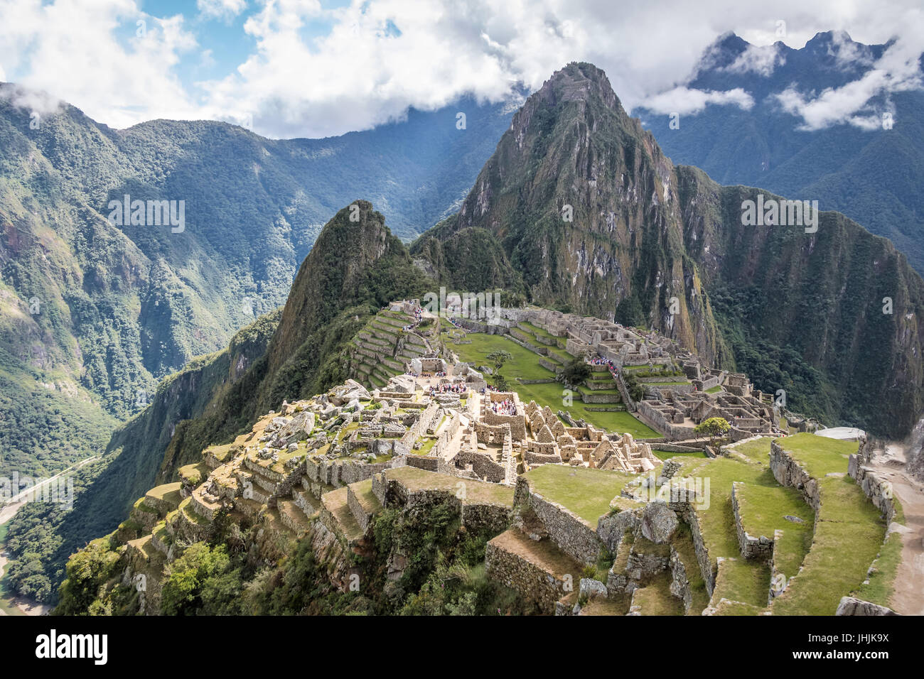 Inkaruinen Machu Picchu - Heiliges Tal, Peru Stockbild