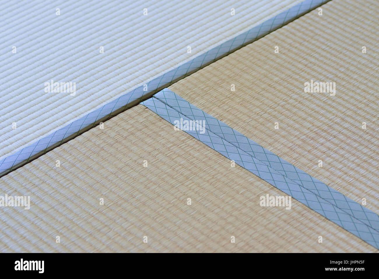 Japanische Bodenmatten makro details der traditionellen japanischen tatami bodenmatten in