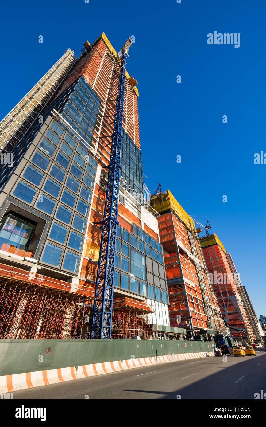 Der Hudson Yards-Baustelle (2017) von 11th Avenue. Midtown Manhattan, New York City Stockbild