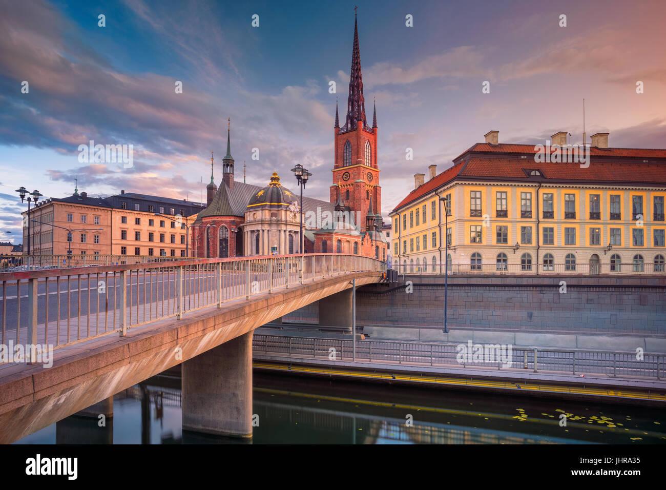 Stockholm. Das Bild der alten Stadt Stockholm, Schweden während des Sonnenuntergangs. Stockbild