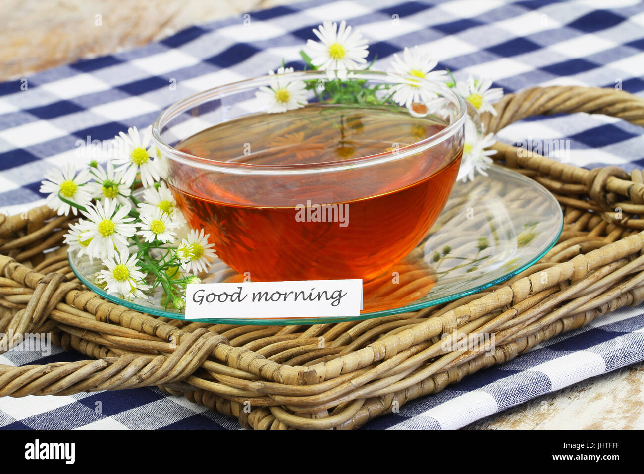 Guten Morgen Karte Mit Tee Und Frischen Kamillenblüten