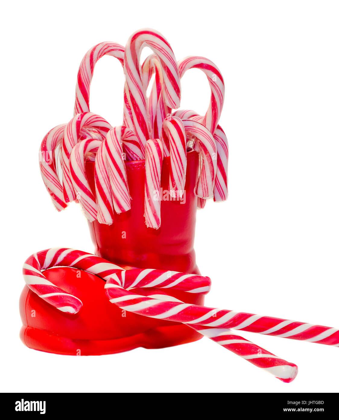 Santa Claus Rote Stiefel Schuhe Mit Farbigen Susse Lutscher Kandis