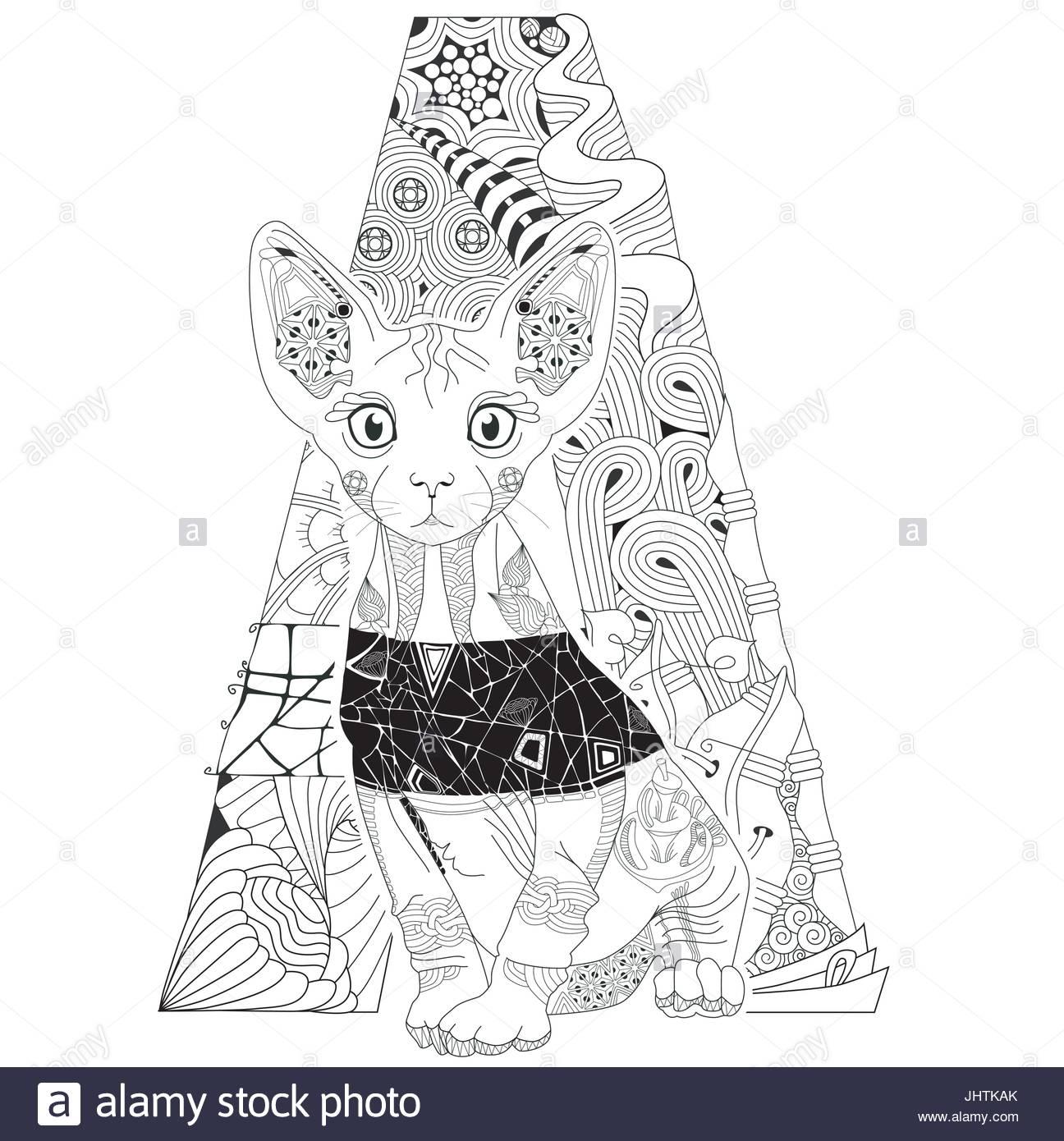 CAT-Zentangle Stil mit klaren Linien für Malbuch für anti-Stress, T ...