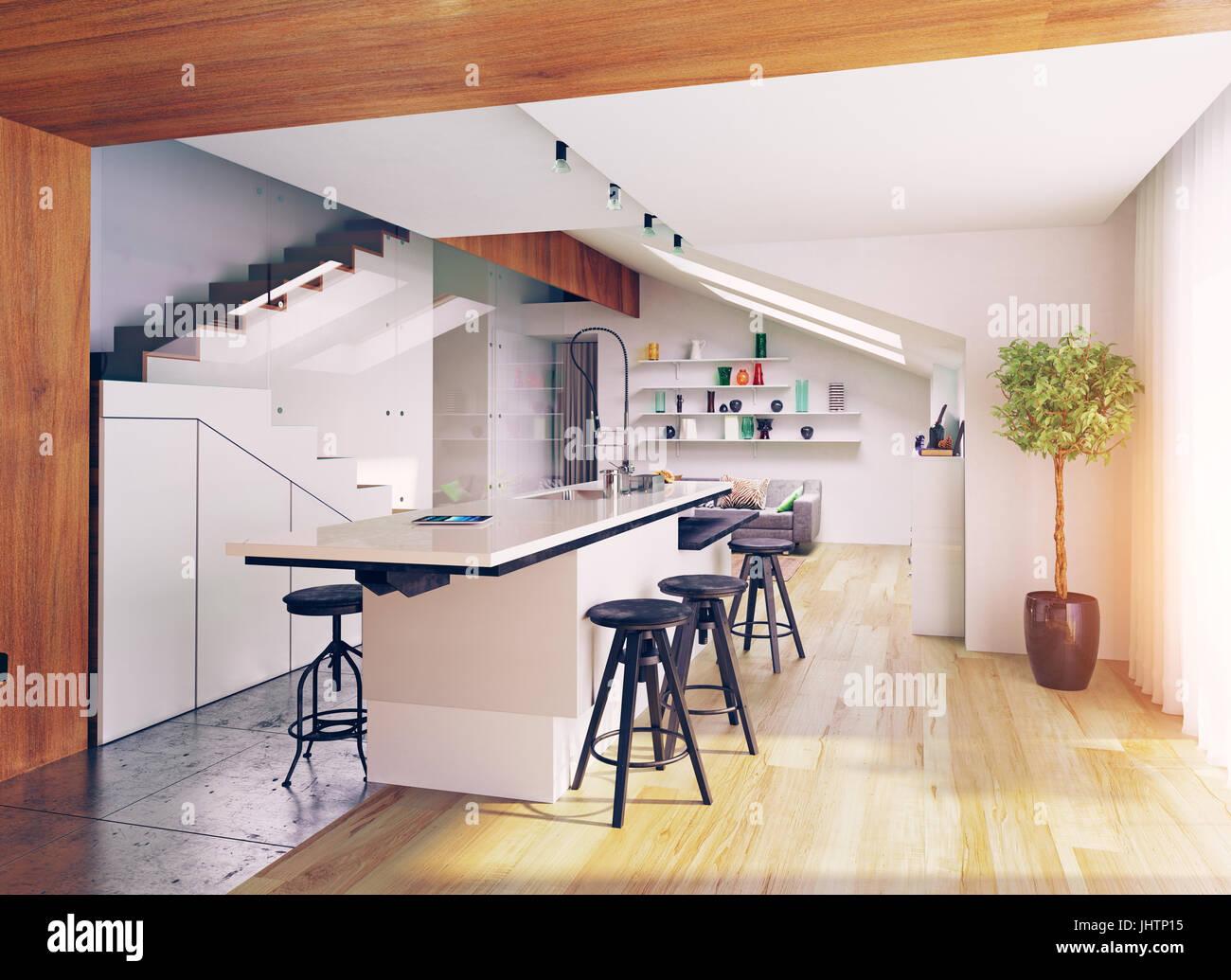 moderne Dachgeschoss Küche Interieur. 3D-Konzept Abbildung Stockfoto ...