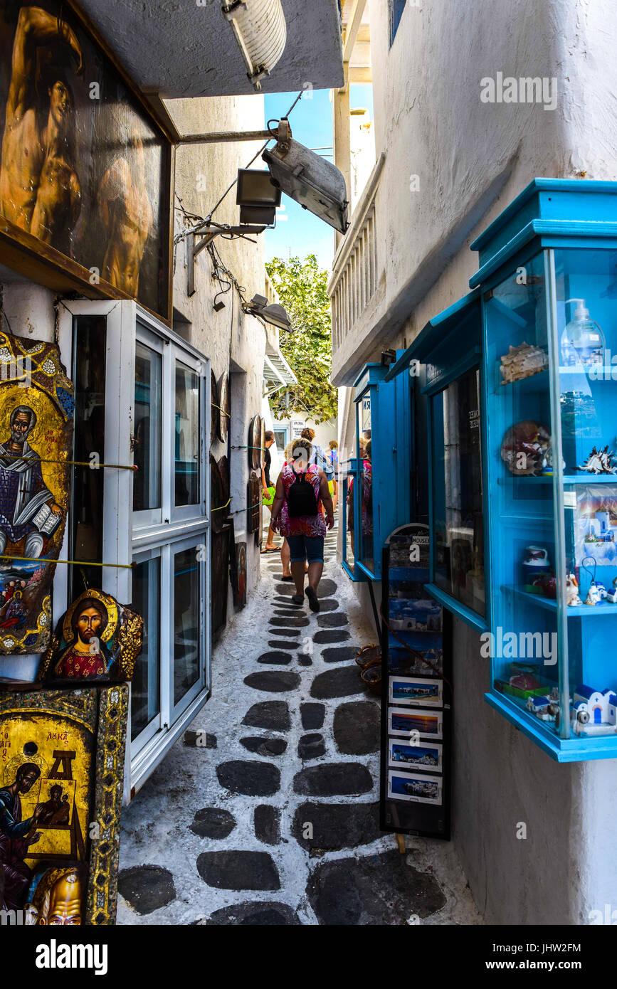 Streetview Mykonos, Griechenland Stockfoto
