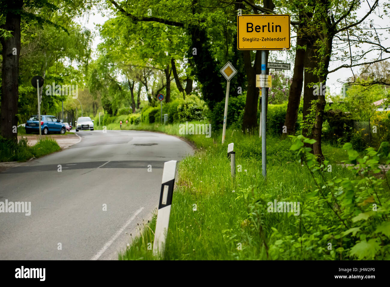 Stadt Berlin Informationen Straßenschild Stockfoto