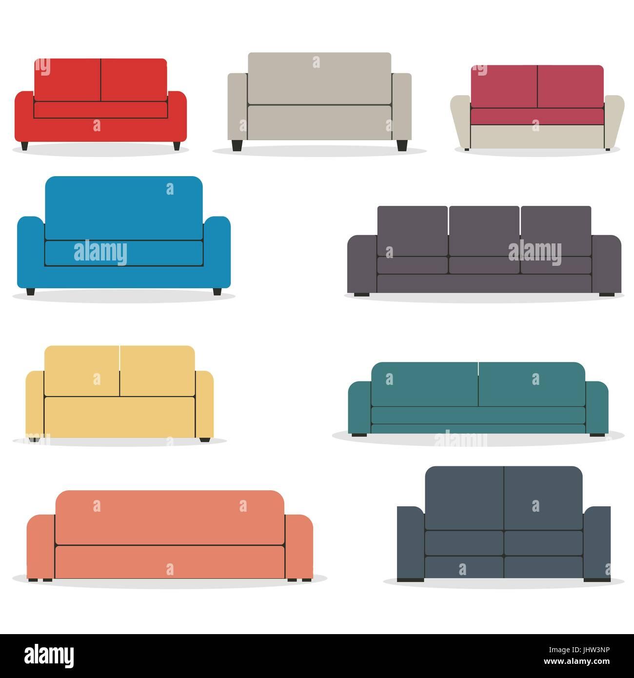 Satz von Möbeln, Sofas in verschiedenen Formen, die isoliert auf ...