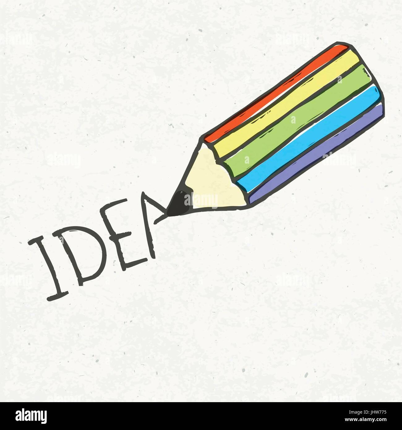 Bleistift und Idee Wort. Handgezeichnete Abbildung, EPS10 Stock Vektor