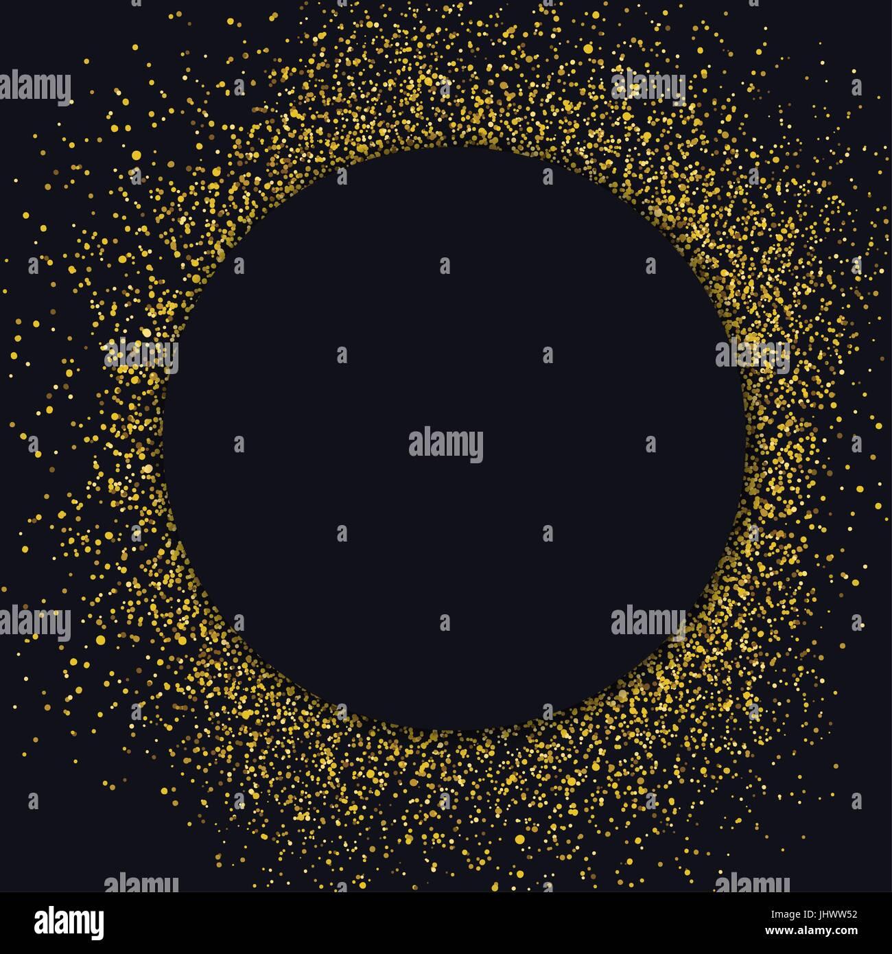 Kreis-Label-Design-Vorlage. Kreis mit gold-Glitter-Partikel auf ...
