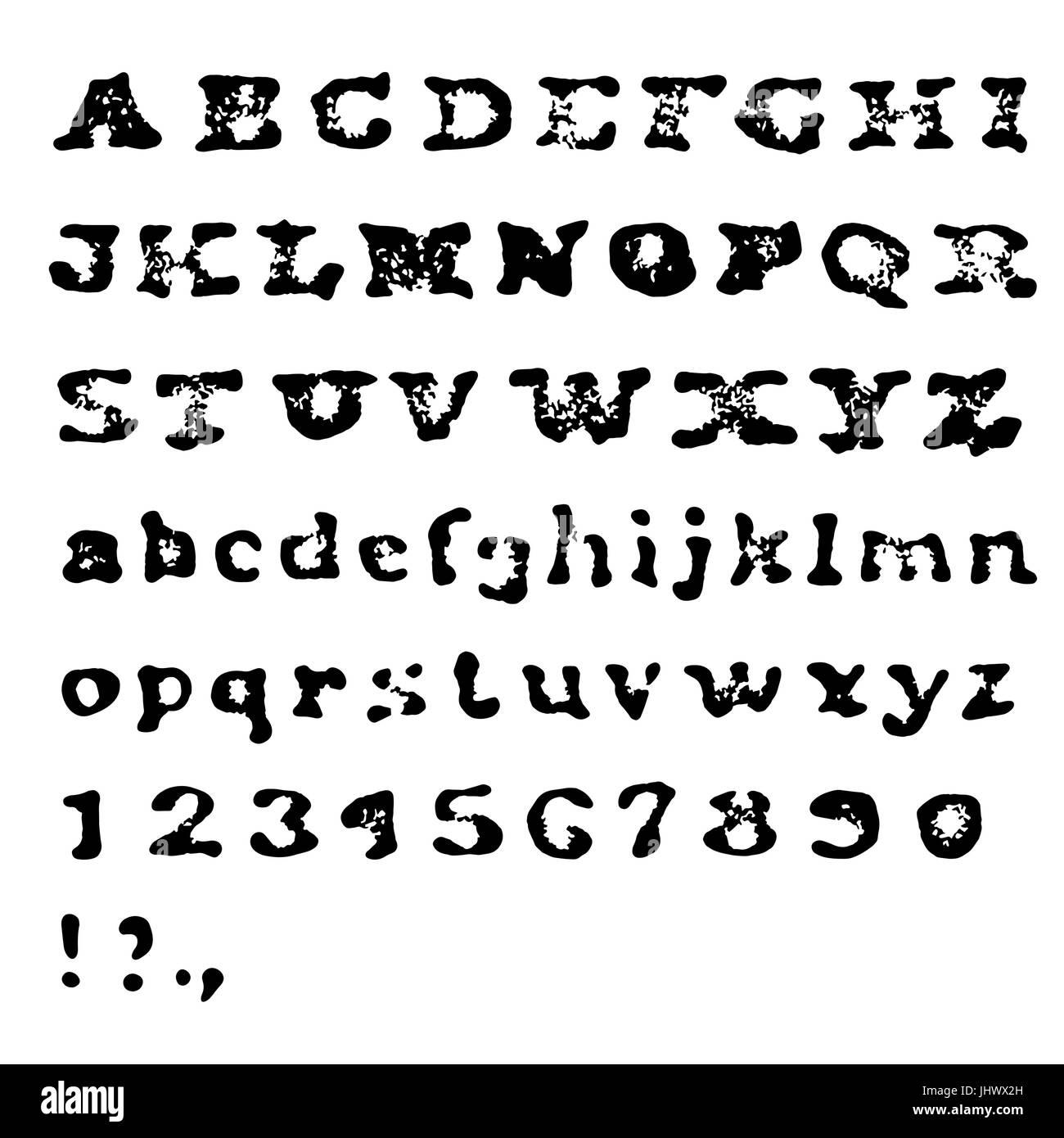 vintage retro alt alter schrift gestanzte alphabet alle kappen zahlen und zeichen isoliert. Black Bedroom Furniture Sets. Home Design Ideas