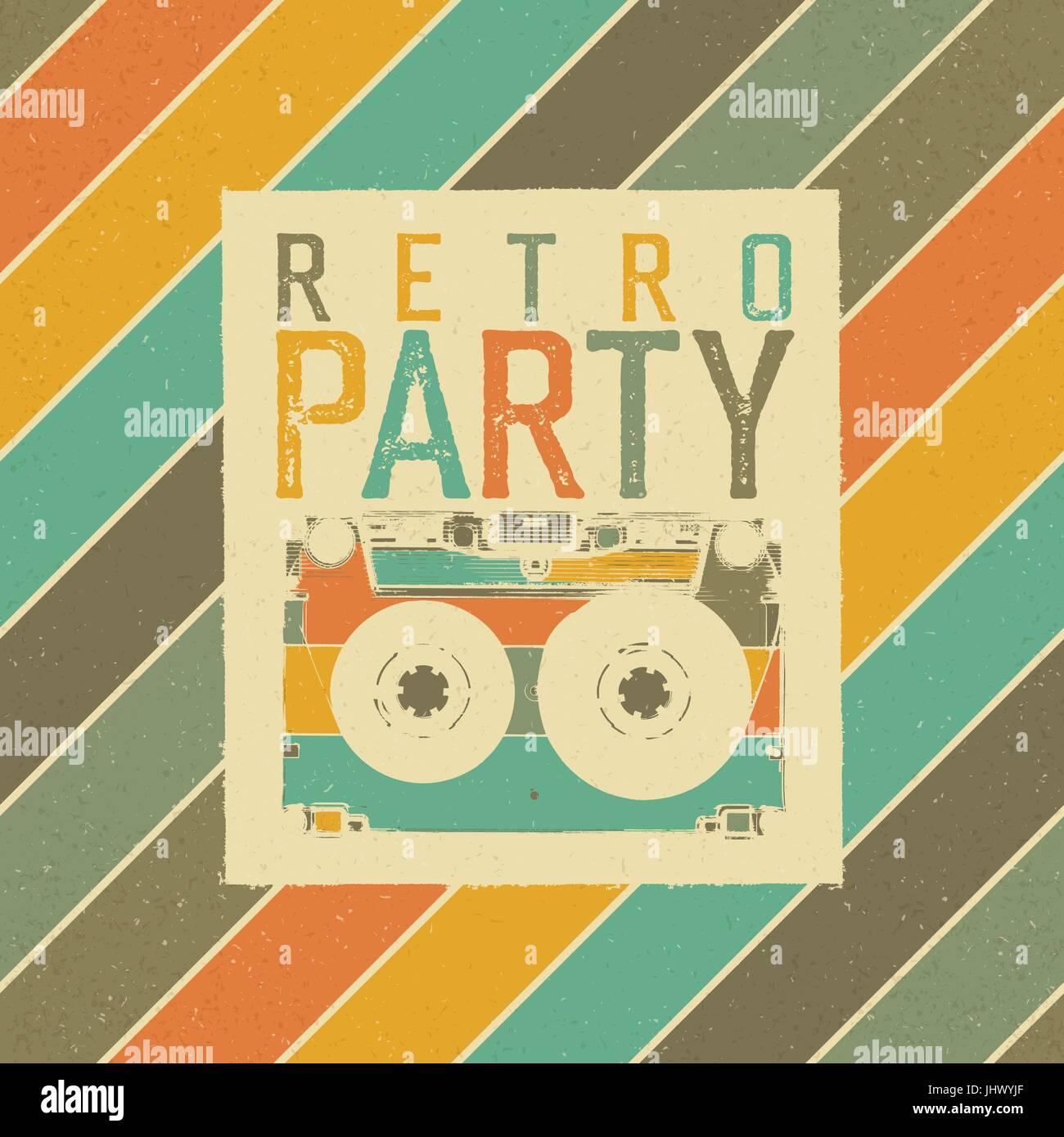 Retro Party Das Beste Der 80er Jahre Vintage Music Party Flyer