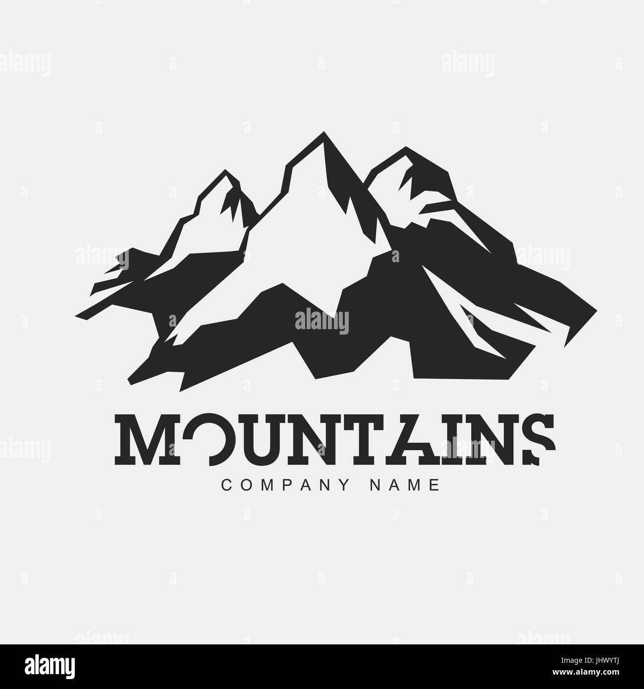Berge-Abbildung. Vektor-abstrakte Logo für Abenteuer-Thema. Isoliert ...