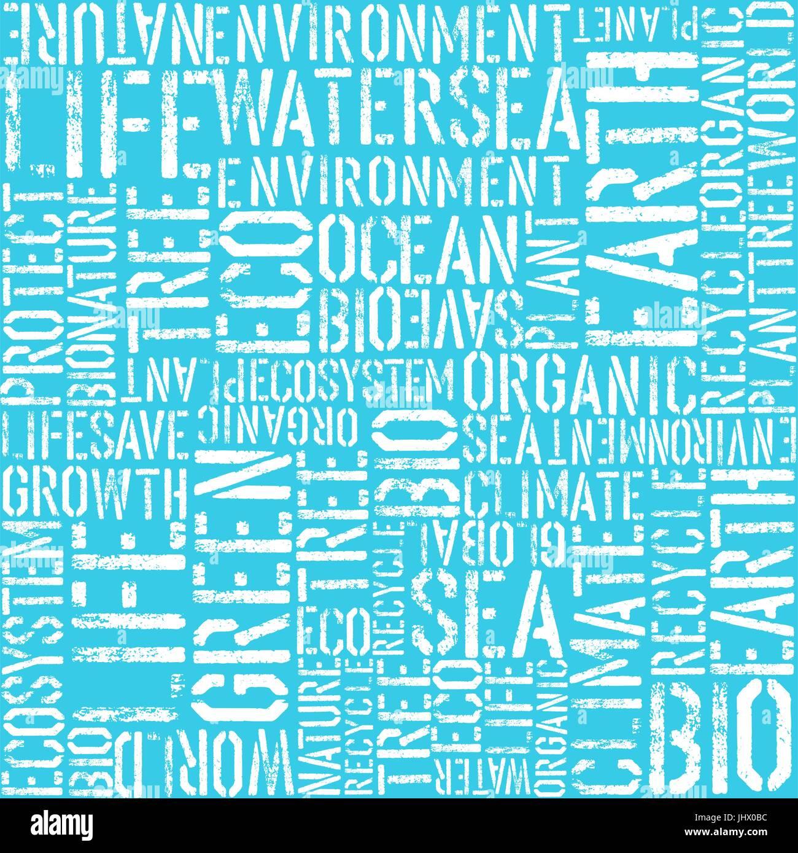 Tag der Erde Worte Thema nahtlose Hintergrund. Blaue Farben. Muster ...