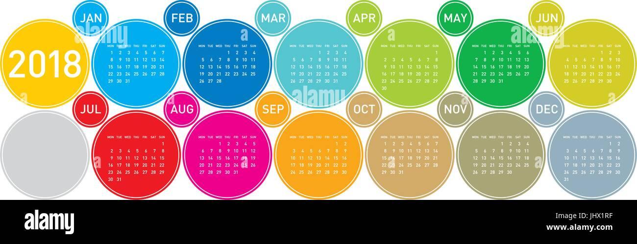 bunten kalender f r das jahr 2018 in englischer sprache. Black Bedroom Furniture Sets. Home Design Ideas
