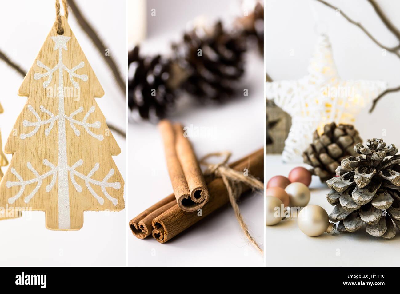 Foto Collage, Weiße Weihnachtsdekoration, Schmuck, Holz Tanne Hängen Zweig,  Zimt, Kugeln, Zapfen, Sterne, Lichter, Skandinavisch, Nein