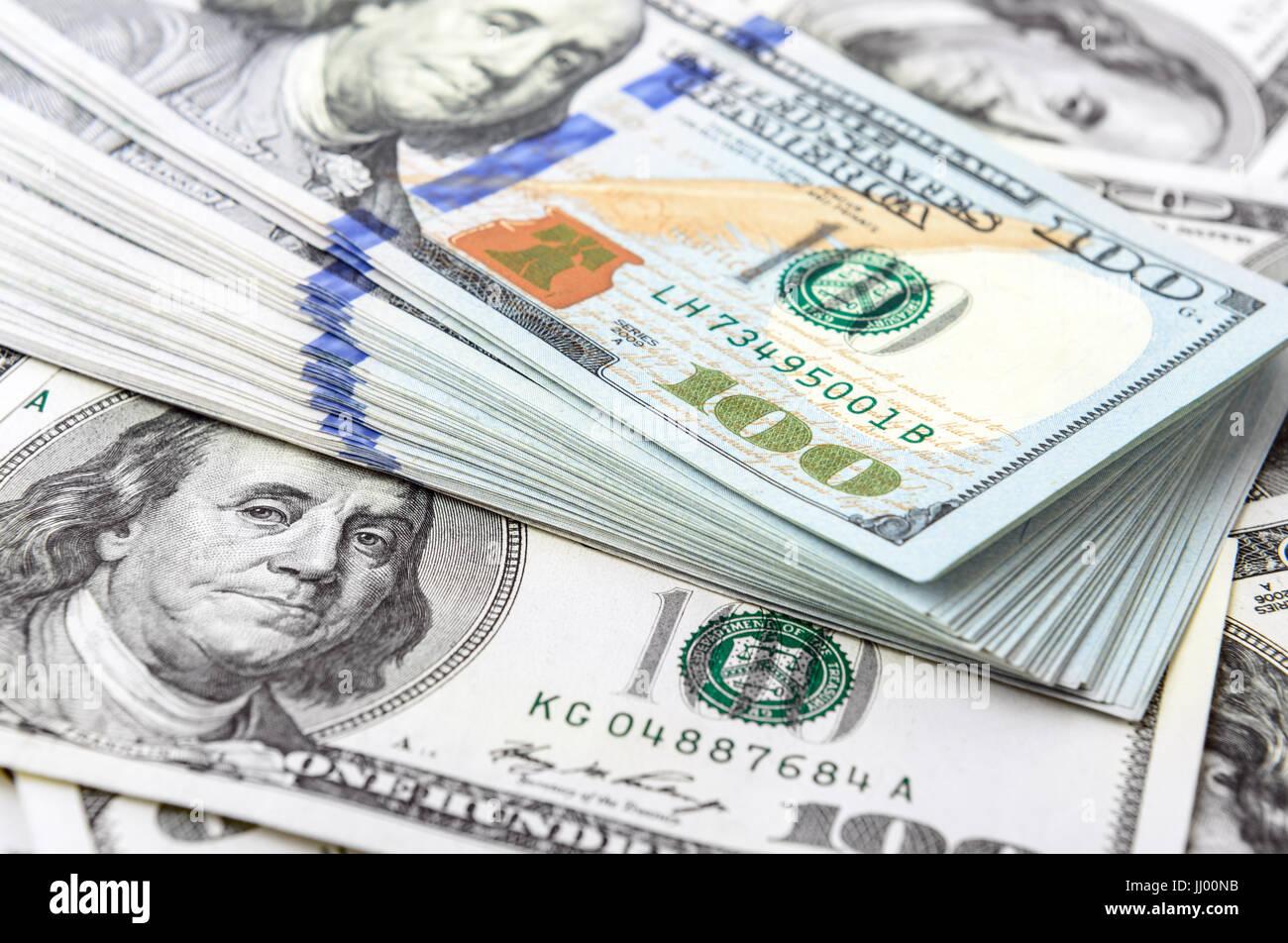Hintergrund der amerikanischen Dollarscheine Stockbild