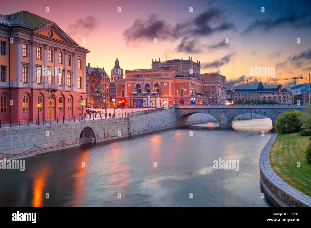 Stockholm. Das Bild der alten Stadt Stockholm, Schweden bei Sonnenaufgang. Stockbild