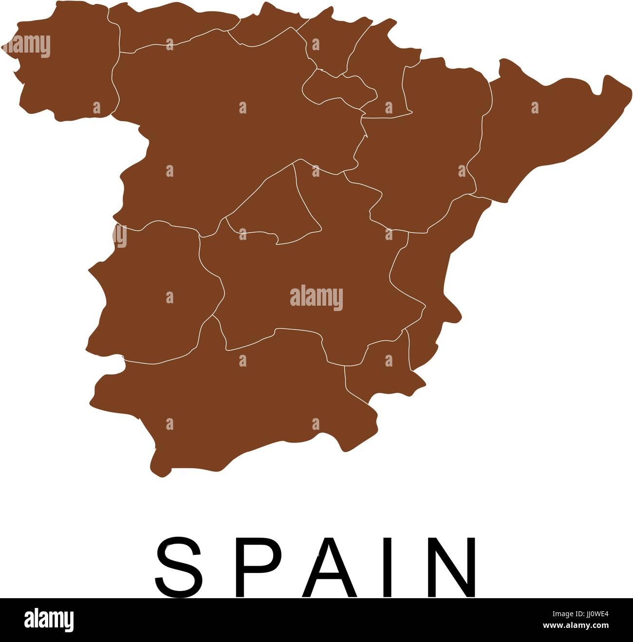 Spanien Regionen Karte.Spanien Karte Mit Regionen Vektor Abbildung Bild 148766748 Alamy