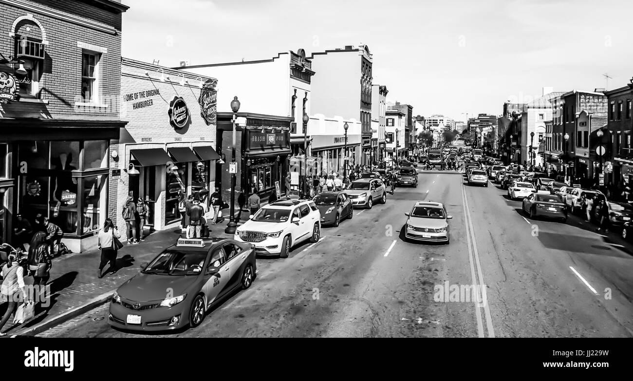 Typische Streetview in Georgetown Washington - WASHINGTON DC / COLUMBIA - 7. April 2017 Stockbild