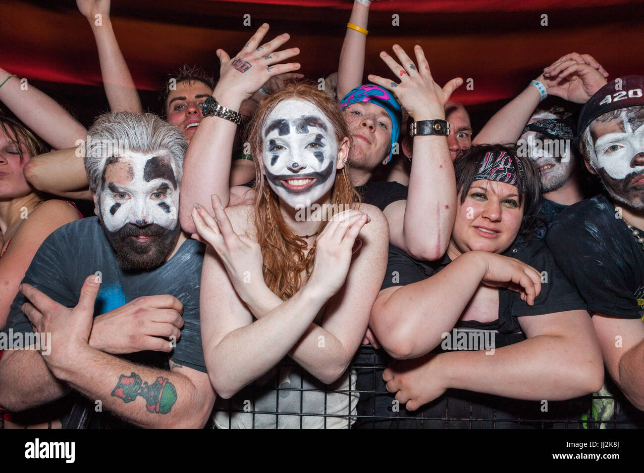 Eighth (Insane Clown Posse Fans) bei einem ICP-Konzert im Adler/Rave Club in Milwaukee, Wisconsin. Stockbild