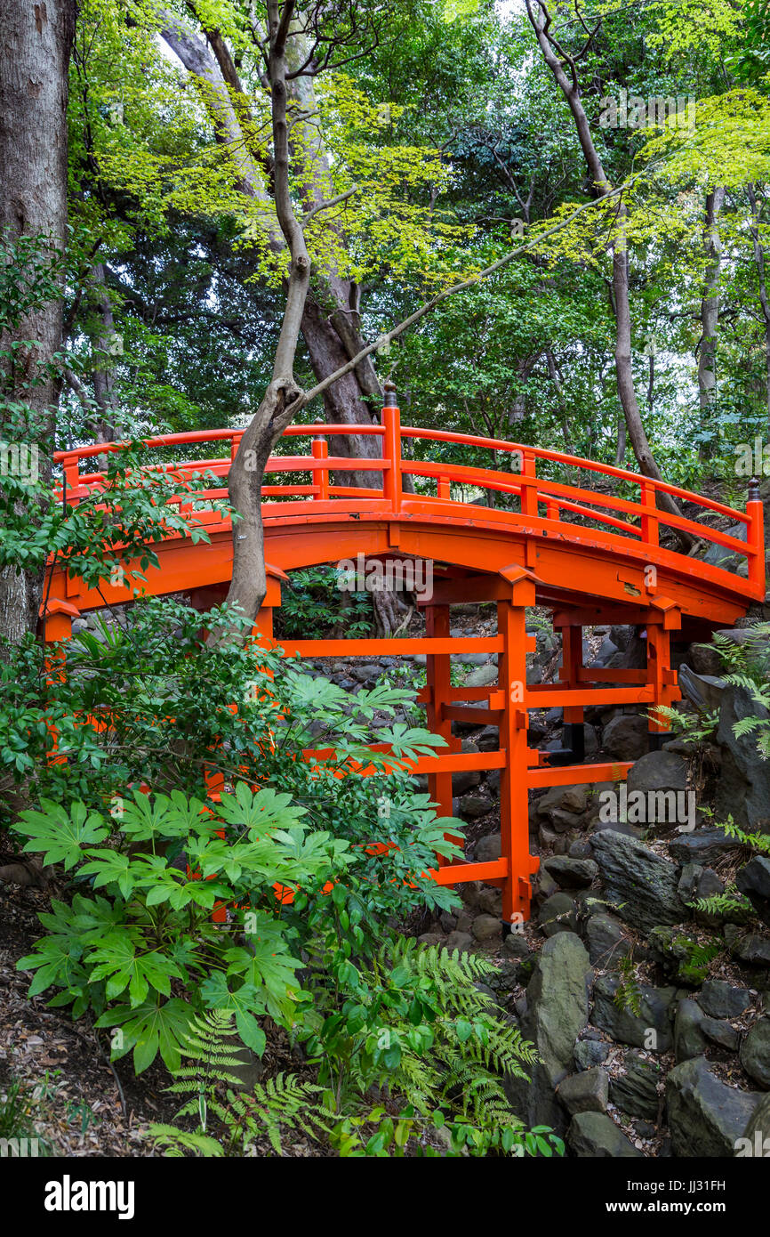 Eine rote Brücke bei Koishikawa K?rakuen Gardens in Bunkyo, Tokio, Japan. Stockbild