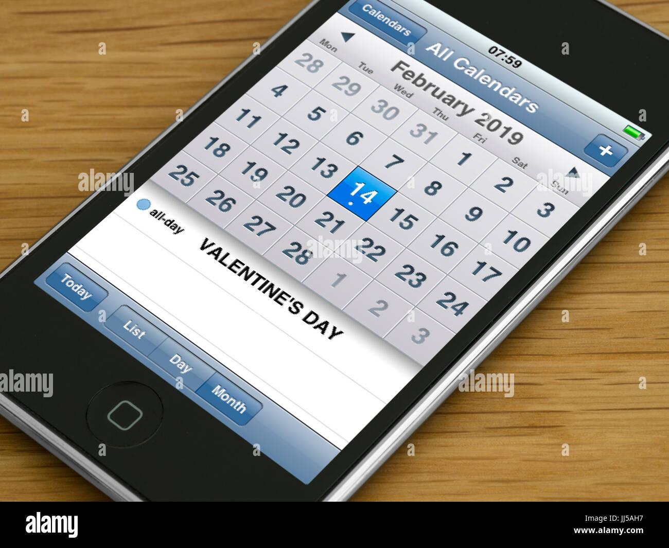 Valentinstag 2019 Erinnerung auf Handy-Kalender Tagebuch anzeigen ...
