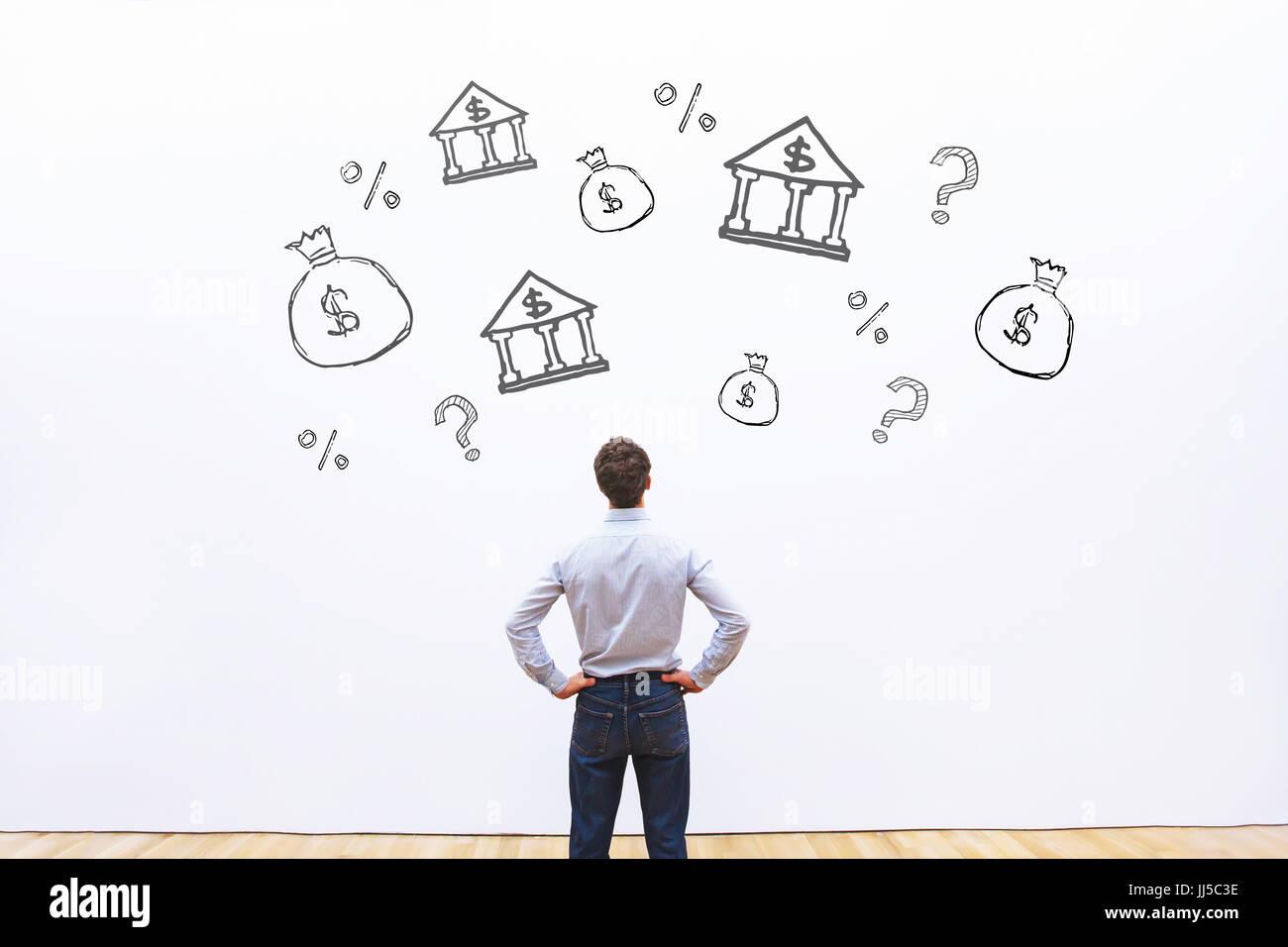 Wahl der Bank für Kredite oder Darlehen, bietet Geschäftsmann Vergleich Kredit Prozentsatz für Unternehmen, Stockbild