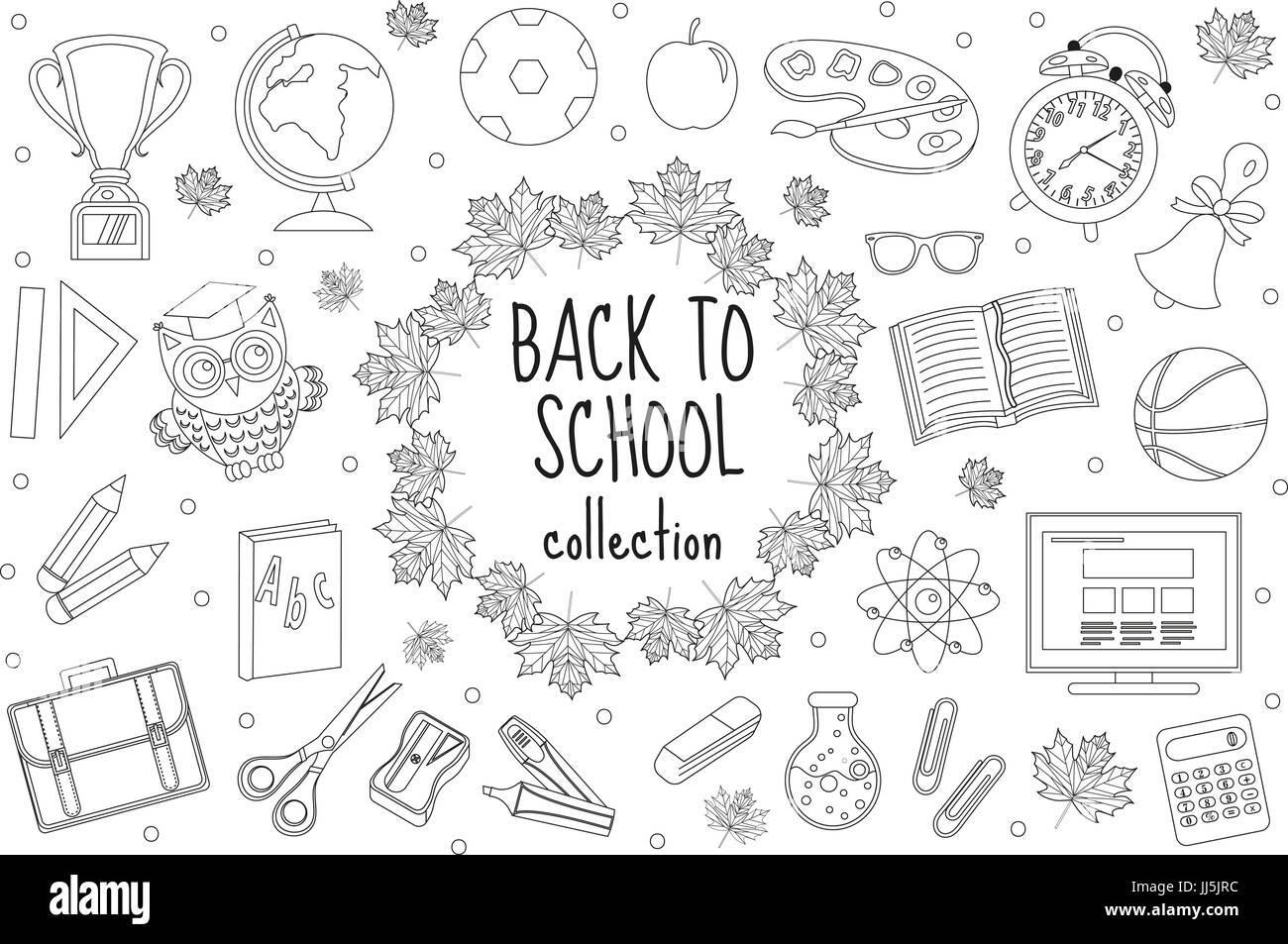 Zurück zu Schule-Reihe von Icons Linienart. Bildung-Sammlung von ...