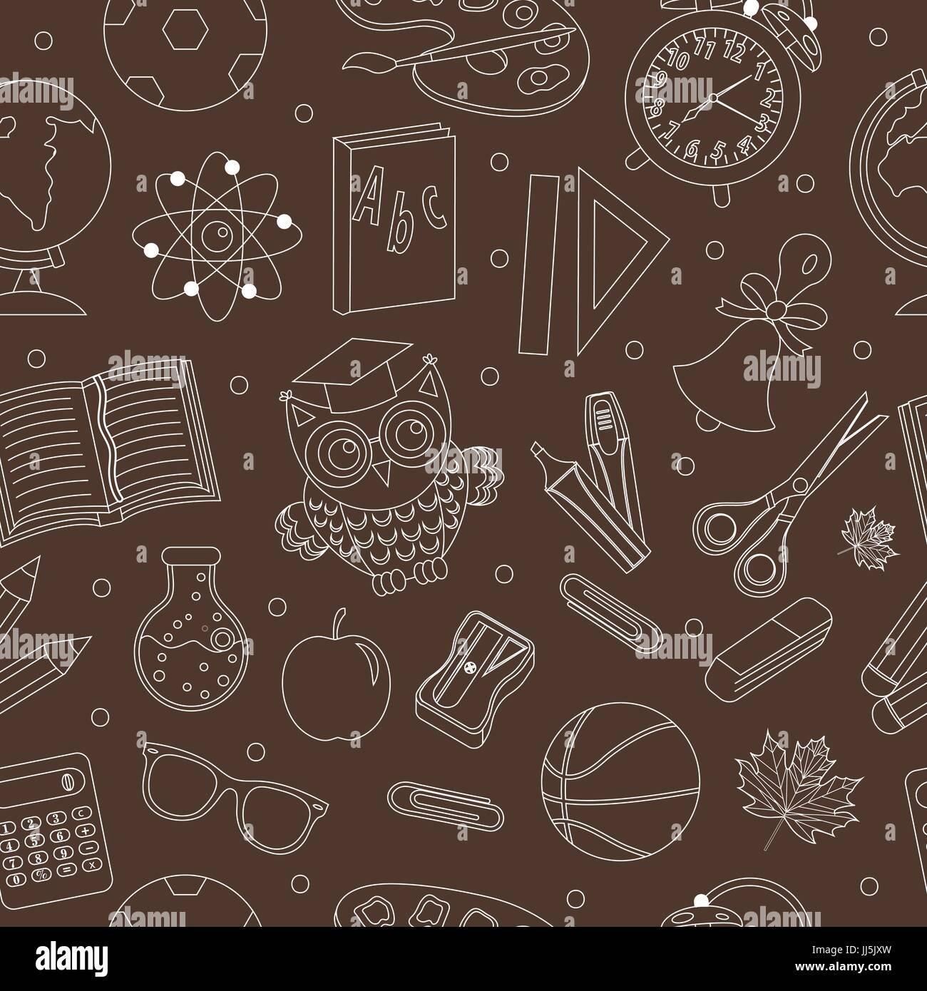 Zurück Zu Schule Musterdesign Hand Zeichnen Doodle Stil Endlose