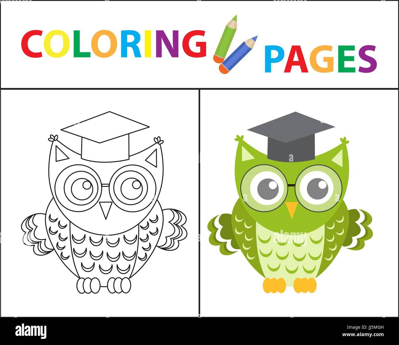 Coloring Book Seite Weise Eule Mit Brille Skizze Kontur Und Farbe