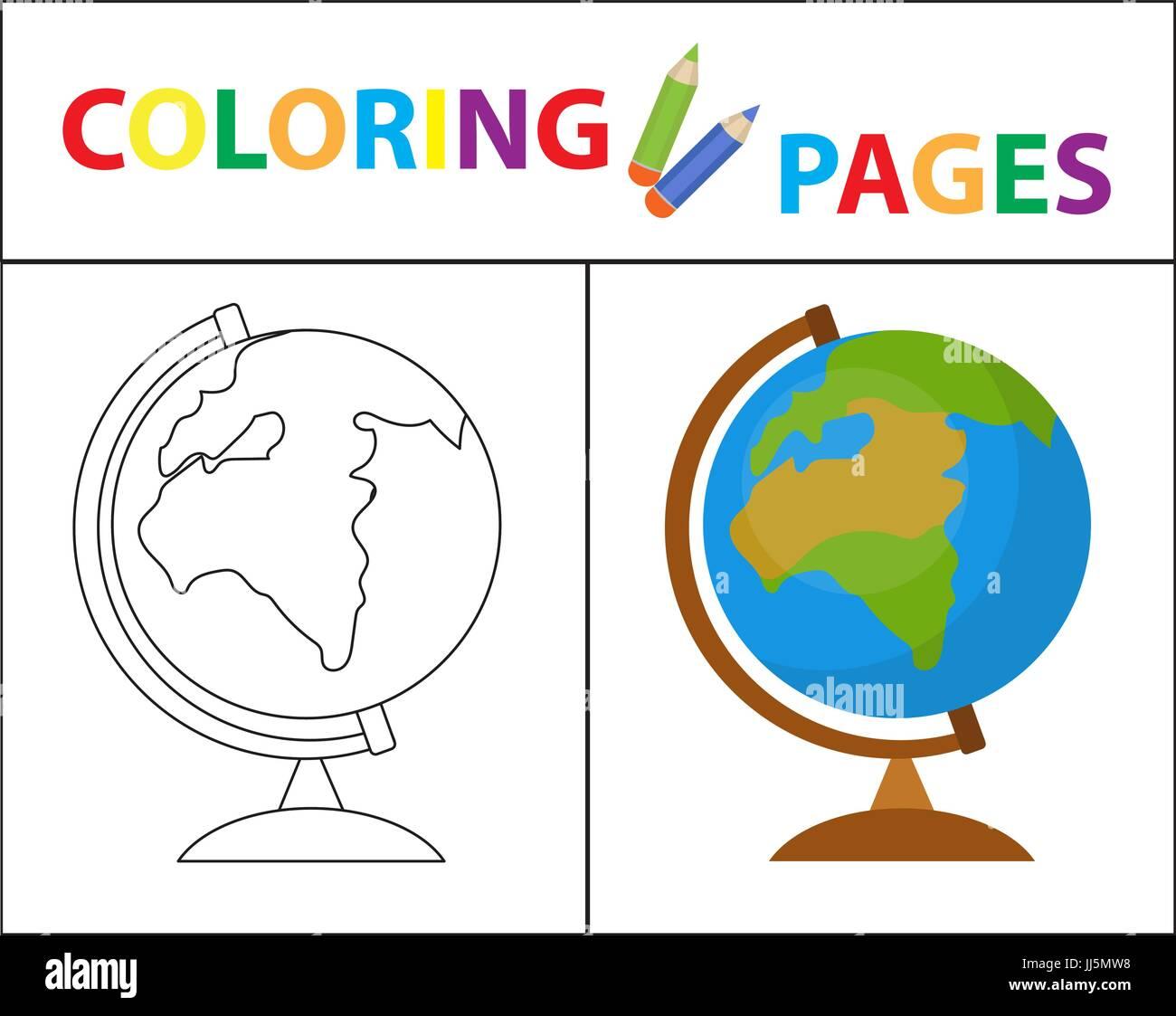 Coloring Book Seite. Globus. Skizze Kontur und Farbe Version ...