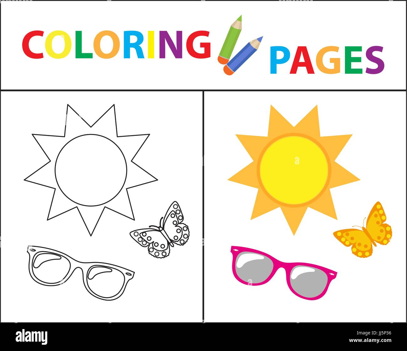 Coloring Book Seite. Sommer-set, Gläser, Sonne, Schmetterling ...