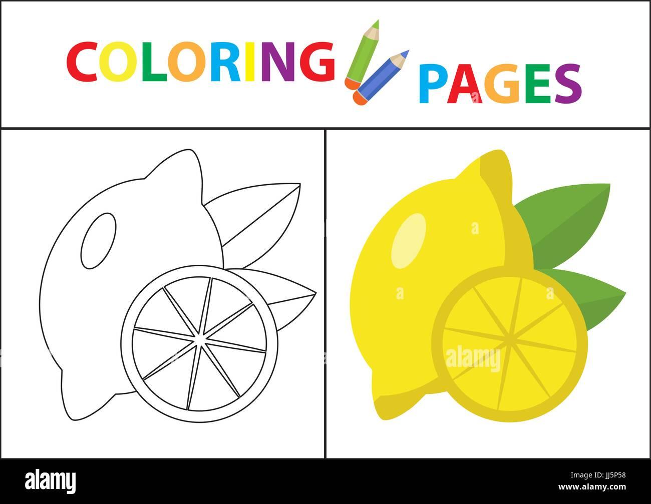 Coloring Book Seite. Skizze Kontur und Farbe Version. Malvorlagen für Kinder. Kinder Bildung. Vektor-Illustration. Stockbild