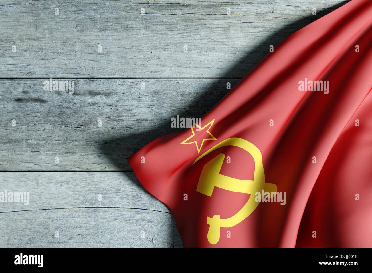 3D-Rendering eine alte sowjetische Flagge auf einem schmutzigen Holz ...