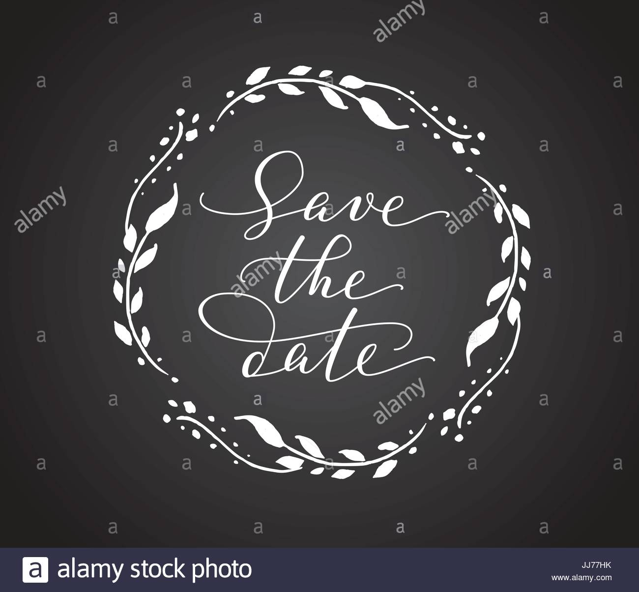Speichern Sie Die Datum Karte Mit Blumenkranz. Chalk Board Stil Schwarz /  Weiß Hochzeit Einladung Vorlage