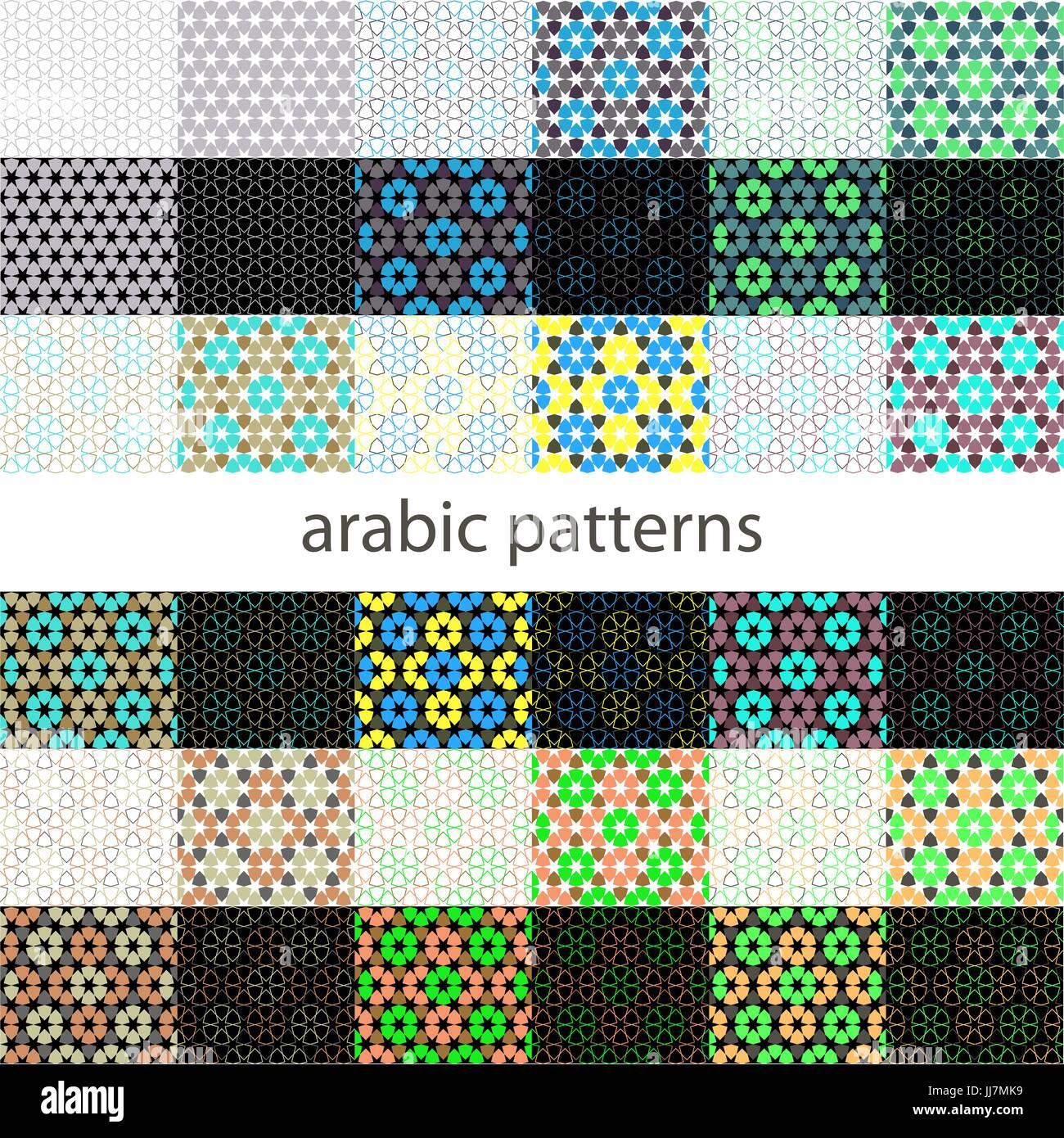 Nahtlose Muster Set Im Marokkanischen Stil Mosaik Fliesen