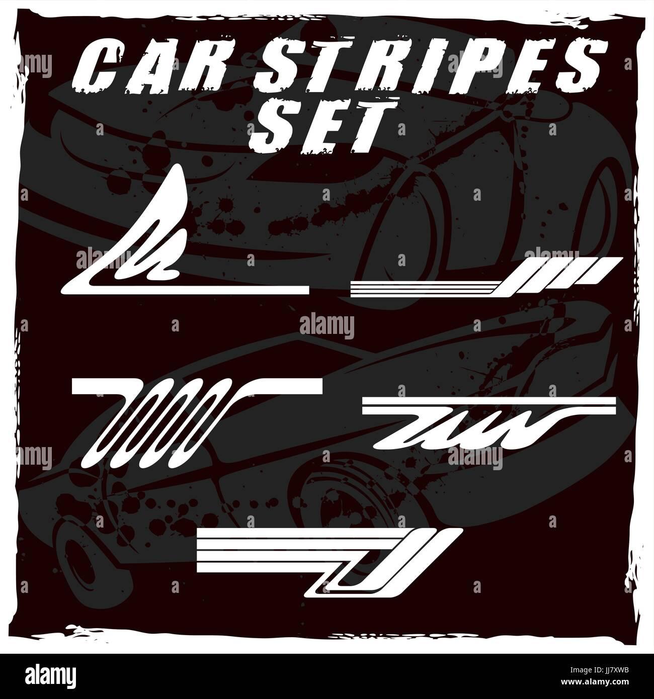 Auto-Streifen-Design setzen, drucken und schneiden auf vinyl Vektor ...