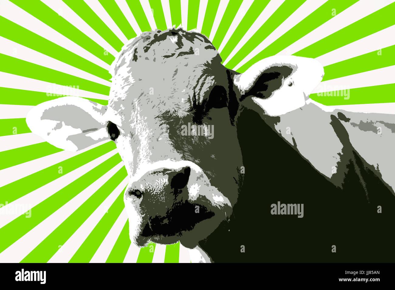 Europa, Schweiz, St. Gallen, digital bearbeitet neugierig Kuh abstrakte artful Stockbild