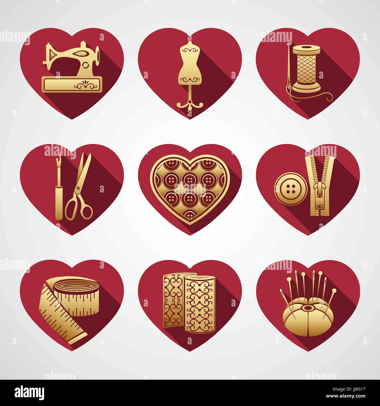 Satz von Vektor-Icons, die Werkzeuge zu nähen. Gold Nähen liefert in ...