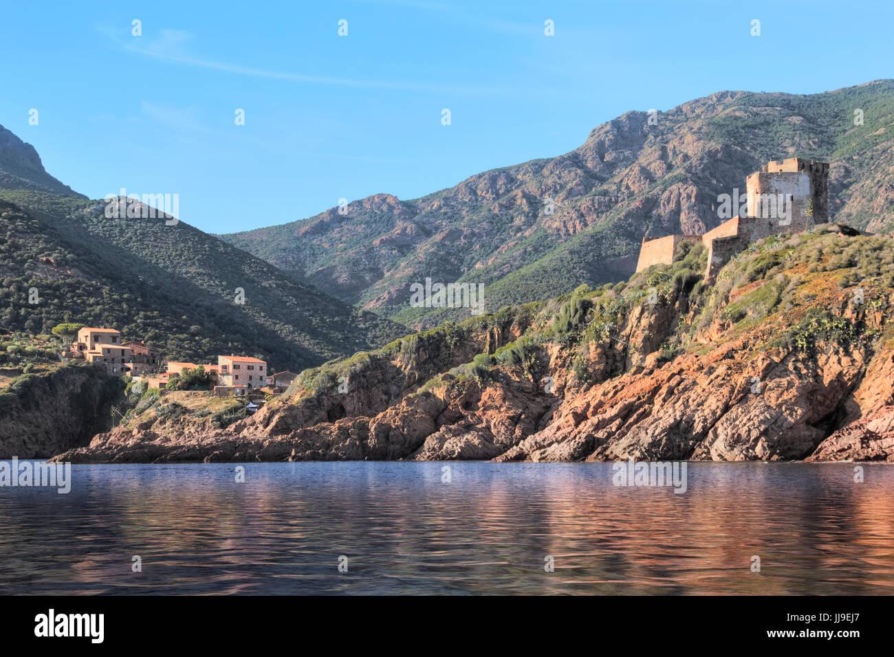 Tour de Girolata, La Scandola, Naturschutzgebiet, Porto, Korsika, Frankreich Stockbild