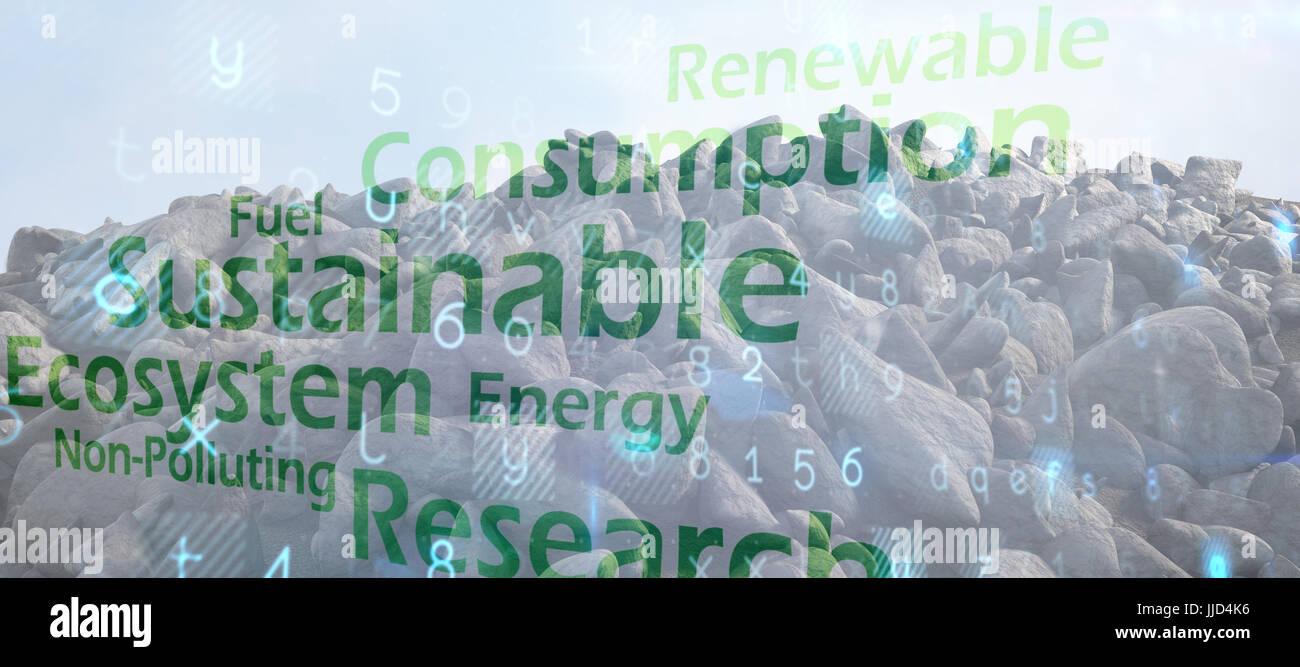 Steinhaufen gegen kreative Bild der grünen Wirtschaft-Konzept Stockbild