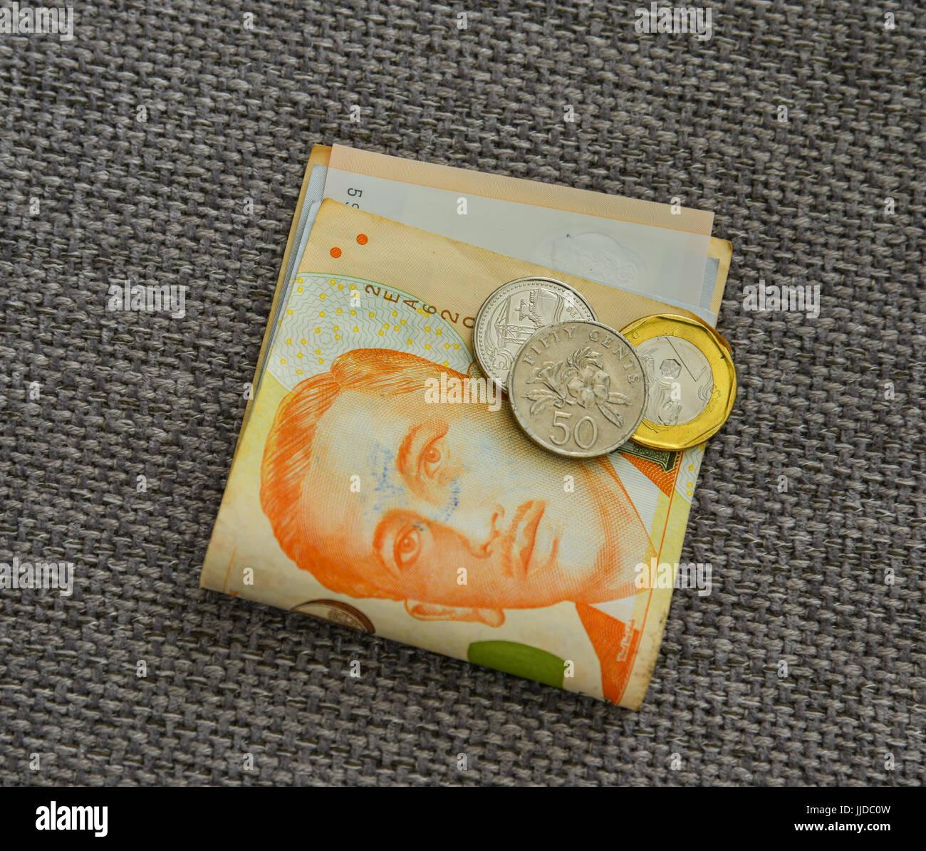 Singapur Dollar Münzen Und Banknoten Auf Leinenstoff Hautnah Geld