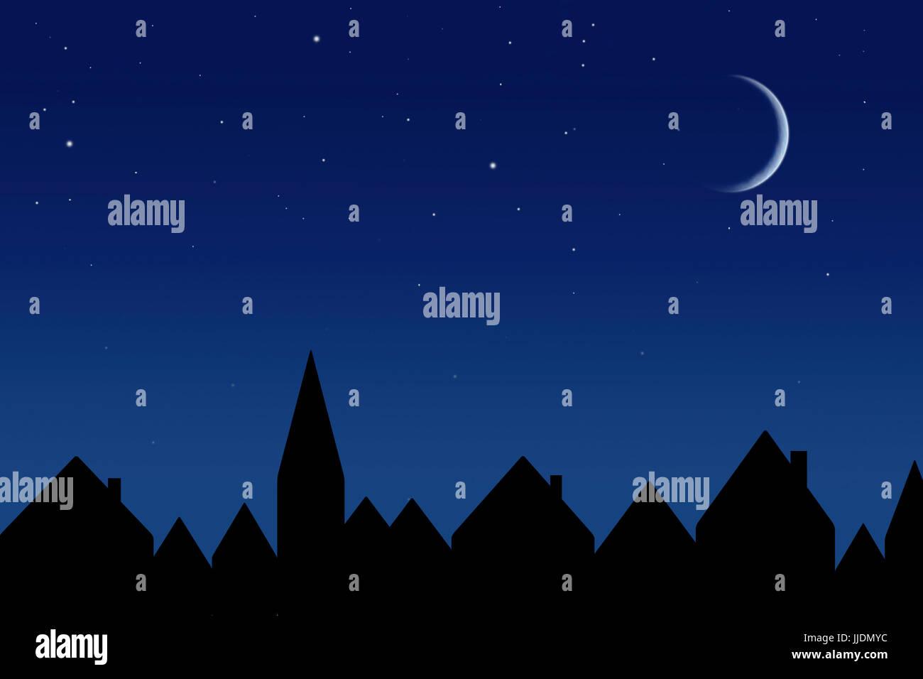 Sternenhimmel und Häuser Stockbild