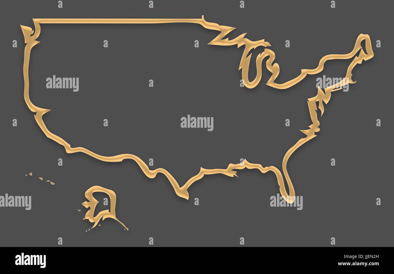 Karte der USA in Bilderrahmen look mit goldenen braunen Umriss ...