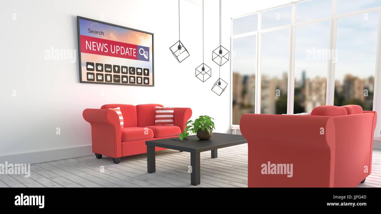 Verschiedene Computer Icons Mit Suchleiste Auf Bildschirm Des Geräts Gegen Rote  Sofas In Moderne Wohnzimmer