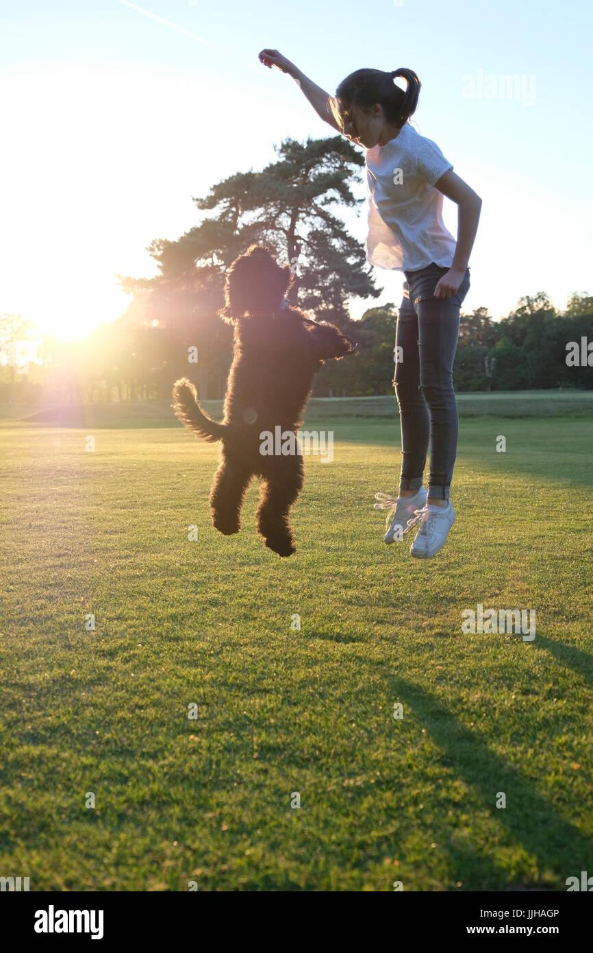 Ein junges Mädchen zusammen mit ihrem Hund an einem sonnigen Tag springen. Stockbild