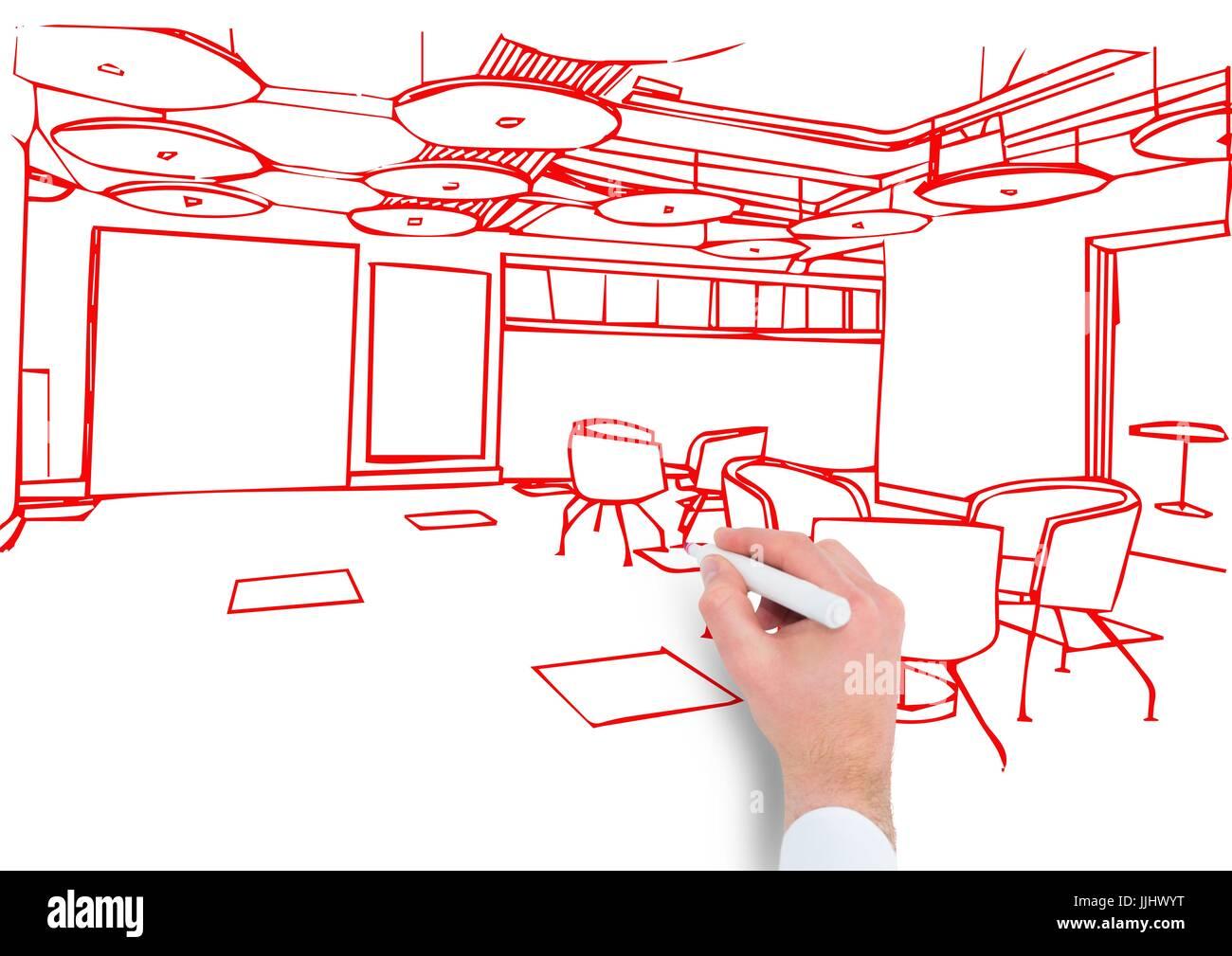 Hand Buro Rote Linien Zeichnen Stockfoto Bild 149140316 Alamy