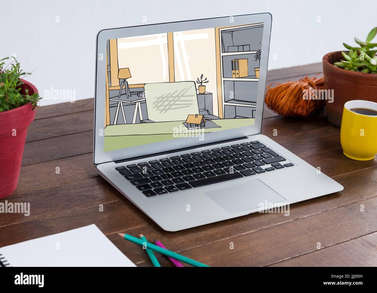 Laptop mit Wohnzimmer neues Design (Farbe: grün, grau und Beige ...
